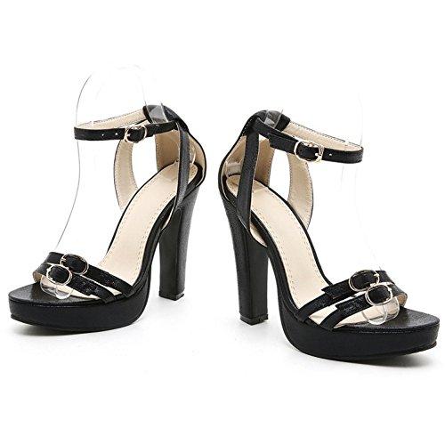 TAOFFEN Damen Elegant Fesselriemen Sandalen Party Dress Blockabsatz Shoes Schwarz