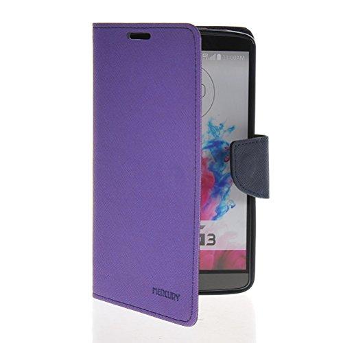 MOONCASE Custodia in pelle Protettiva Portafoglio Flip Case Cover per LG G3 Viola