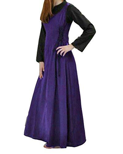 nfarbig Sommerkleid Tank Kleid Ausgestelltes Mittelalter Kleid Cosplay Trägerkleid Cocktailkleid Violett S (Historische Kostüme)