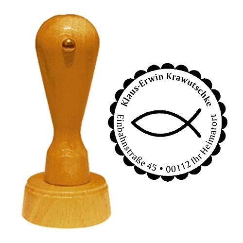 Stempel Adressstempel « CHRISTENFISCH » Durchmesser ca. Ø 40 mm - mit persönlicher Adresse und Motiv - Religion Jesus Christus Ichtys Fisch Symbol