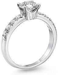 Solitaer Diamantring - Round mit Zertifikat 0.75 Karat, 18 Karat (750) Weißgold