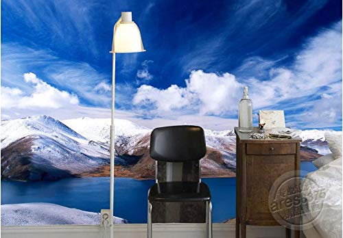 Keshj Benutzerdefinierte Wallpaper Für Wände 3D Moderne Und Einfache Hd Wallpaper 3D Schlafzimmer Wohnzimmer Wallpaper Snow Mountain Blue Sky Wandbild-300Cmx210Cm - Mountain Wallpaper Blue