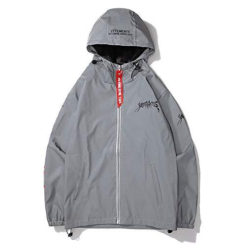 Sicherheitsweste für Outdoor-Arbeiten Unisex Windbreaker Jacket Hoodie Schnell trocknende Outdoor-Sportbekleidung Windbreaker Reflective Coat Hooded Sicherheit und Sichtbarkeit für Laufen, Joggen Hooded Lightweight Coat