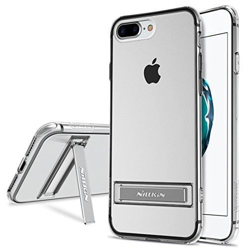 iPhone Case Cover NILLKIN pour iPhone 7 Plus Crashproof Bordure Transparent Soft TPU Étui de protection arrière avec support en alliage d'aluminium ( Color : Blue ) White