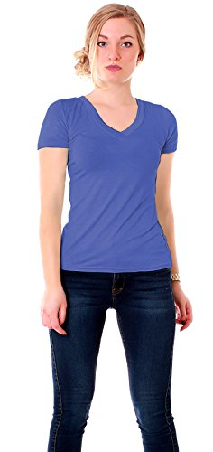 Easy Young Fashion Damen Jersey Shirt Kurzarm T-Shirt figurbetont mit V Ausschnitt uni Royal