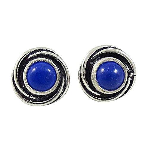 Plaqué Argent Pierre Boucles D'Oreilles Stud Mode Indien Cadeau Boucles D'Oreilles De Bijoux Pour Les Femmes Bleu-4