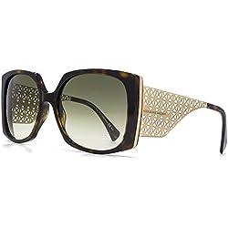 Alexander McQueen Übergröße Filligree Tempel Sonnenbrille im dunklen Havanna Gold AMQ 4274/S Z7L 57 57 Green Gradient
