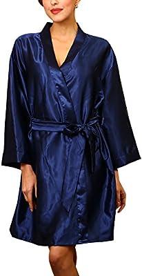 Dolamen Unisex Mujer Hombre Vestido Kimono Satén, Camisón para mujer, Lujoso Robe Albornoz Dama de honor Ropa de dormir Pijama, Busto 132 cm, 51,97inch, de gran tamaño para todos