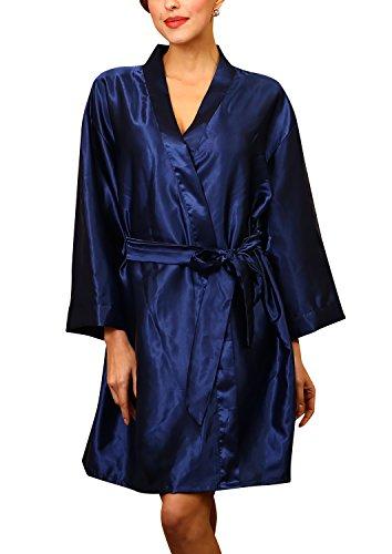 Dolamen Unisex Damen Herren Morgenmantel Kimono, Satin Nachtwäsche Bademantel Robe Kimono Negligee Seidenrobe locker Schlafanzug, Büste 132cm, 51,97 Zoll, große Größe für alle (Dunkelblau)