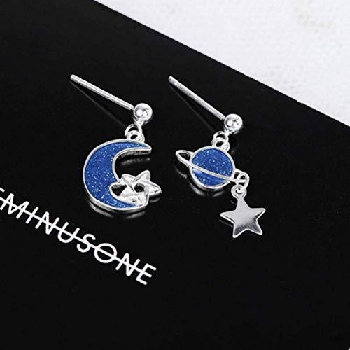 WOZUIMEI Ohrring Ohrhänger Ohrstecker S925 Sterling Silber Ohrringe Hand Made Female Stars Moon Blue Tropfen Kunststoff Emaille Ohrringe für Frauen