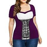 WWricotta Plus Size Women V Neck Lace Bandage Short Sleeves Tee Blouse Patchwork Shirt(Lila,XXXL)