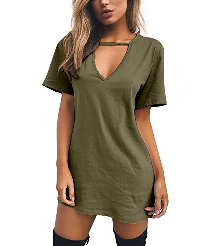 l Sommerkleid Minikleid Lose V-Ausschnitt T Shirt Kleid Strandkleid Blusenkleid Kurze Partykleid (ArmeeGrün, S) ()