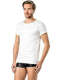 Latex- ähnliches Herren Shirt 1/2 Arm- Vinyl -Shirt weiss VERANO