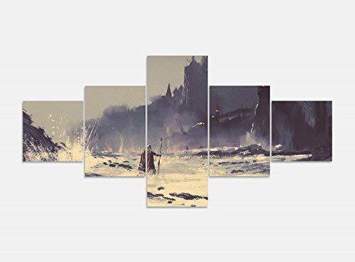 Leinwandbild 5 tlg. 200cmx100cm Fantasy Zauberer Märchen Schloss Burg Bilder Druck auf Leinwand Bild Kunstdruck mehrteilig Holz 9YA791, 5Tlg 200x100cm:5Tlg 200x100cm - Leinwand Burg