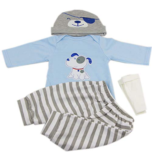 KEIUMI vêtements de bébé pour 22-23 Pouces Reborn bébé poupées garçon Accessoires Motif de Chien Bleu