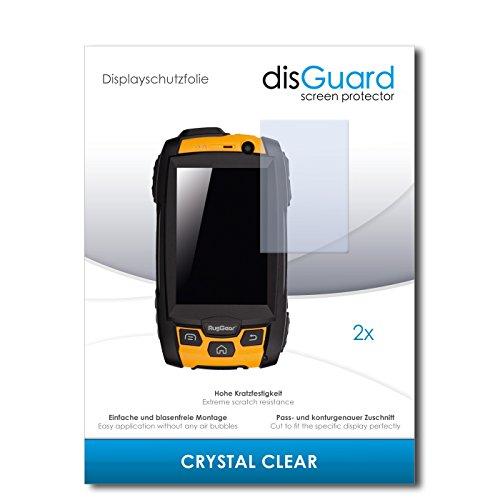 disGuard® Bildschirmschutzfolie [Crystal Clear] kompatibel mit RugGear RG500 [2 Stück] Kristallklar, Transparent, Unsichtbar, Extrem Kratzfest, Anti-Fingerabdruck - Panzerglas Folie, Schutzfolie