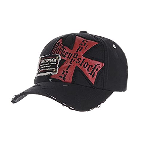 WITHMOONS Casquette de Baseball Knights Cross Patch Baseball Cap Vintage Distressed Trucker Hat AC1173 (Black)
