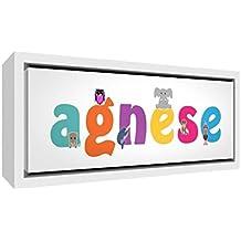 Little Helper Impresión sobre lienzo enmarcado madera blanco, dibujo personalizable con nombre de niña Agnese