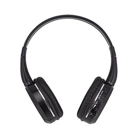 DDAUTO Dual Channels Réglables Casque Infrarouge sans Fil avec un Câble Audio pour Voiture Appuie-tête DVD Smartphone Tablette Ordinateur Portable Supporte Transmetteur IR Connexion Filaire (D1001S)