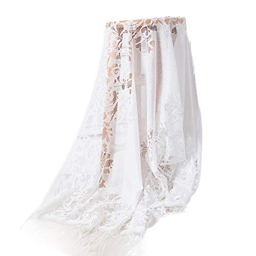 Semine Women es Floral Lace Mesh Party Prom Wedding Shawl Scarf with Fringe - Lace Mesh Wrap