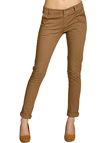 CASPAR KHS037 Pantalon skinny fit chino en coton pour femme Ocre