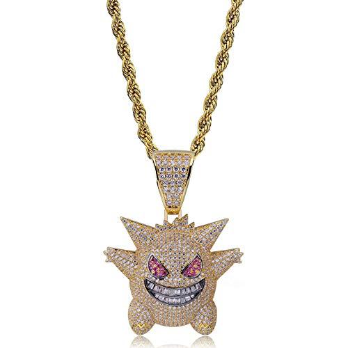 YinXX Pet elf Halskette, Ghost Cartoon Hohe Qualität Zirkon 18 Karat Gold Anhänger Halskette, Mode Accessoires Männer und Frauen ()