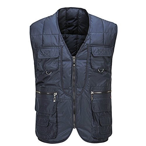 Zhhlaixing Bon tissu Mens Autumn Winter Thick Vest Cotton Padded Fishing Vest Gift for Father's Day blue