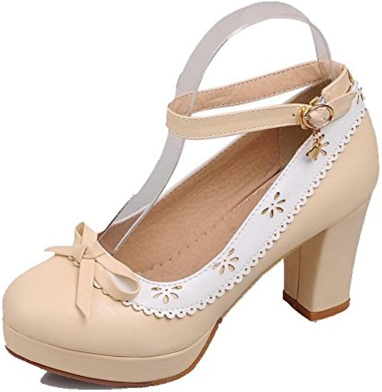 9b5c92d57397 AllhqFashion Women s Buckle High-Heels PU Assorted Color Round Closed Toe  Toe Toe Pumps-Shoes B01LAWI9IG Parent de3d9b