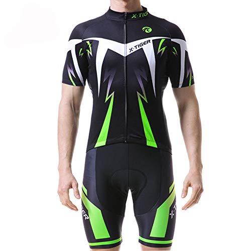 FHKL Radsportanzug Sommer Feuchtigkeitsregulierendes Atmungsaktives Herren-Radsportoberteil,Fluorescentgreen-L - Für Lycra Nähmaschine