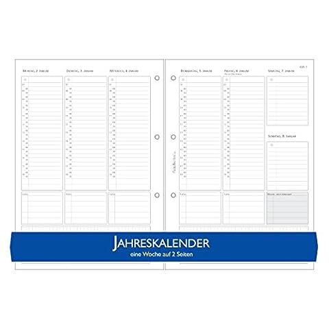 Schaar-Design flexiNotes KALENDER A5 für 2017, Einlagen als Wochenkalender für Notizbücher, Organizer, Terminplaner, Ringbücher, Timer, Jahresplaner, Zeitplaner, Typ: Basic, 1 Woche auf 2 Seiten, A5