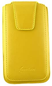 Emartbuy® PU Leather Slide in Pouch Cover Sleeve Holder for Lava A32 Smartphone (Size 3XL_Yellow Sleek)