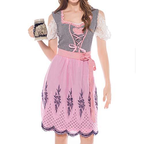 ToDIDAF Oktoberfest Dirndl Damen Vintage Kleid Bayerische Tracht Kurzarm Cosplay Kostüm Kleid for Oktoberfest Karneval Halloween Party Pink M (Bierkrug Damen Kleid Kostüm)