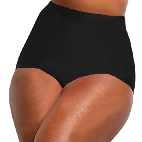 feiXIANG damen hohe Taille Bademode Höschen Shorts bikini bottoms schwimmen slips schwimmen Frauen große Größe badeanzug (XXXXL, Schwarz) (Bügel-höschen)
