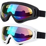 Zeagro Cycle Goggles, 2er-Pack Snowboard-Skibrille, Skate-Motorrad-Fahrrad-Schutzbrille für Kinder, Jungen, Mädchen, Jugendliche, Männer, Frauen mit UV 400-Schutz, Winddicht, Blendschutzgläser