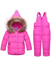 79010ea61 Invierno Infantil Bebé Sudaderas con Capucha Chaqueta Snowsuit Pato Abajo  Niñas Pequeñas Conjuntos Conjuntos Ropa de Nieve…