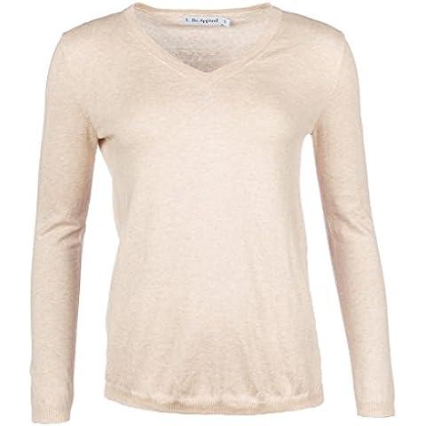 L. Bo Apparel, Savvy: Elegante Jersey Para Mujer Cuello V, Cachemir y Algodón Suéter