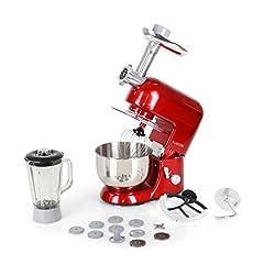 Idea Regalo - Klarstein Lucia Rossa - robot da cucina , mixer , impastatrice , 1200 W , 5 L , sistema planetario , tritacarne , ganci per pasta , shaker da 1,5 L , velocità regolabile , rosso