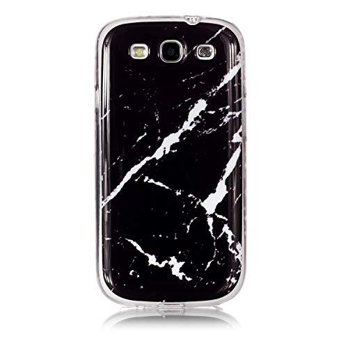 Cozy Hut Samsung Galaxy S3 Hülle, Matt Weich Silikon Handyhülle Schlank TPU Bumper Handytasche Flexible Schutzhülle Soft Back Cover für Samsung Galaxy S3 - Schwarz + weißer Marmor