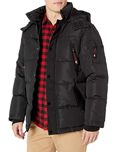 Canada Weather Gear Herren Fashion Outerwear Jacket (More Styles Available) Daunenalternative, Mantel, Schwarz (mit Kapuze), Mittel -