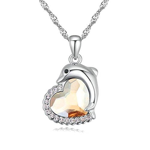 Daesar Schmuck Damenkette Vergoldet Dolphin Herz Halskette Zirkonia Strass Anhänger Halskette