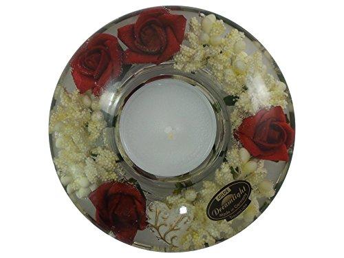 Gilde Dreamlight Ufo -Mini Rose- Portacandelitas con rosas rojas