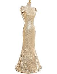 Babyonlinedress Vestido largo para fiesta de noche para boda estilo ajustado y elegante escote redondo manga corta sin espalda con lentejuelas