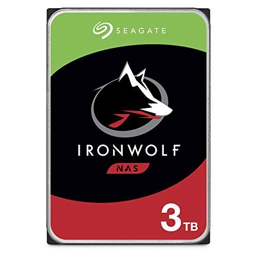 Seagate IronWolf 3 To, Disque dur interne NAS HDD - 3,5 pouces SATA 6 Gbit/s 5 900 tr/min, 64 Mo de mémoire cache, pour stockage en réseau NAS RAID - Ouverture facile (ST3000VN007)
