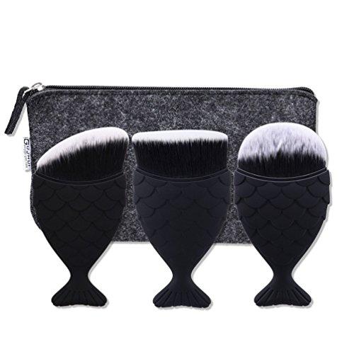 Fashion Base Lot de 3 brosses à maquillage colorées avec dégradé arc-en-ciel, brosses de fond de teint, blush, contouring