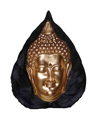 empfangstheke praxis Buddha-Kopf im Bodhi-Blatt - mit 3D-Bewegungseffekt 15 cm, gold/schwarz-grün