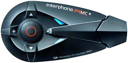 Interphone F4MC Single-Pack - Bluetooth 3.0 Motorrad Freisprecheinrichtung Gegensprechanlage Headset - (Jet- und Integralhelm) - Intercom, Telefonieren, GPS-Navigation, FM-Radio, Musikwiedergabe - Interphone Bluetooth