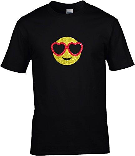 Shirt Karneval Herren Gruppen GLITZERDRUCK Fasching Junggesellenabschied Emoji Kostüm Emoticon Smiley Brille mit Herzrand Love Herzaugen, M