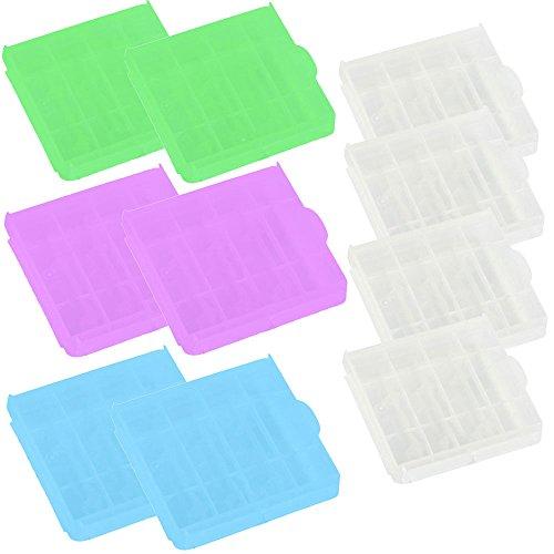 COM-FOUR® 10x Batteriebox für AA und AAA Batterien Aufbewahrung Case in mehreren Farben (10 Stück - Bunt)