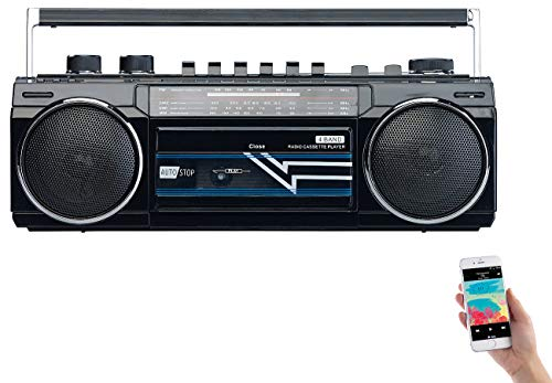 auvisio Kassettenplayer: Retro-Boombox mit Kassetten-Player, Radio, USB, SD & Bluetooth, 8 Watt (Kassettenspieler)