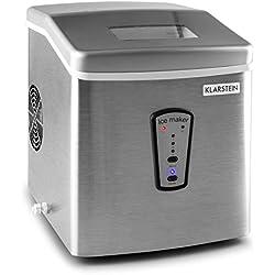 Klarstein Powericer Machine à glaçons • Réservoir 2 L • 180 Watts • Jusqu'à 15 kg par Jour • Silencieux • Panneau à 2 Touches • LED • Taille des glaçons réglable • INOX